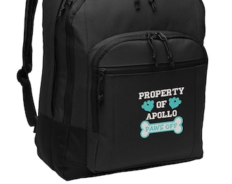Property of Dogs Name Personalized Embroidered Backpack, Vet Tech, Pet Lover, Animal Rescue
