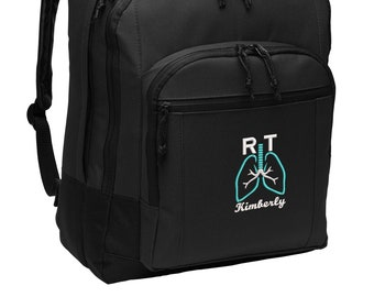 Respiratory Therapist Personalized Back Pack Embroidered, Respiratory Therapy