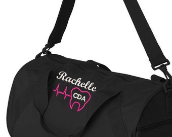 Heartbeat Tooth Dental Personalized Embroidered Gym Bag Duffle 1af8e61295