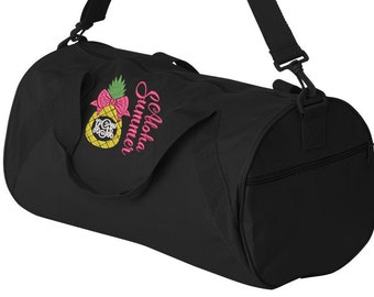Personalized Paradise Pineapple Print Overnight Quilted Bag-Gym bag,