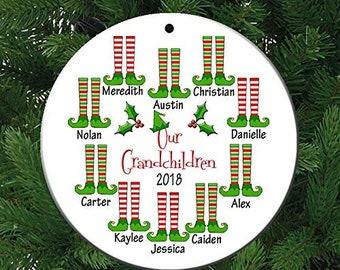 Our Grandchildren 10 Grandkids Christmas Personalized Ceramic Christmas Ornament
