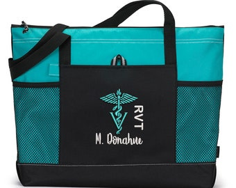 Vet Caduceus Vet Technician Personalized Embroidered Zippered Backpack for Veterinarian Appreciation Gift