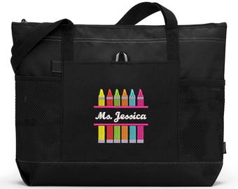 6927dfc5ca Crayons Teacher Personalized Tote Zippered Embroidered tote Bag With Mesh  Pockets