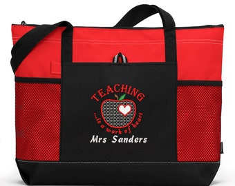 Teaching is a Work of Heart Personalized Tote Zippered Embroidered tote Bag With Mesh Pockets, Beach Bag
