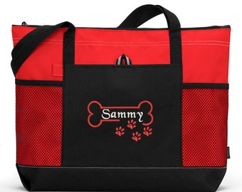 Bone Paw Print Personalized Embroidered Pet Travel Tote