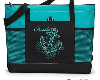 Nautical Anchor Personalized  Zippered Tote Bag with Mesh Pockets, Beach Bag, Boating