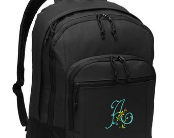 Monogrammed Buttercup Initial Personalized Embroidered Backpack