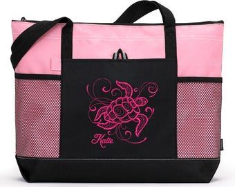 Sea Turtle Personalized Embroidered Tote Bag