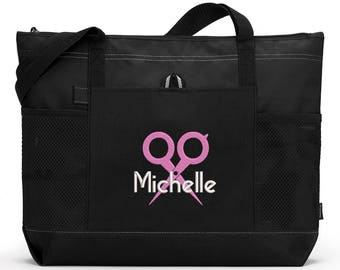 Personalized Hair Stylist #3 Embroidered Zippered Tote Bag With Mesh Pockets, Beach Bag, Boating