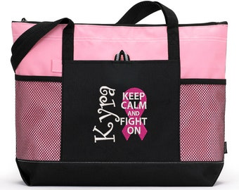 Breast Cancer Personalized Chemo, Cancer Awareness Zippered Tote Bag With Mesh Pockets, Beach Bag, Boating