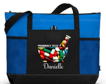 Personalized Pharmacy Tech / Pharmacist Tote Bag with Mesh Pockets
