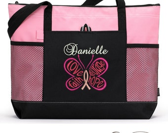 Personalized  Chemo, Cancer Awareness Zippered Tote Bag with Mesh Pockets, Beach Bag, Boating
