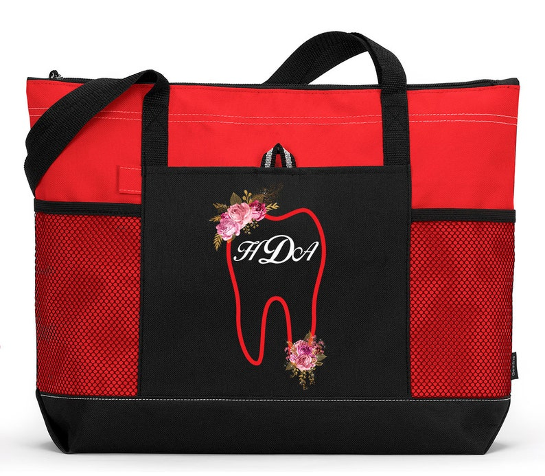 Dental Tooth Monogram with Flowers Personalized Tote 2082