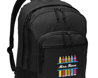 Crayons Teacher, Pre-k, Nursery School Personalized Embroidered Backpack