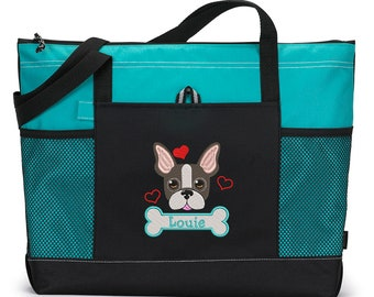 French Bulldog Personalized Embroidered Pet Travel Tote