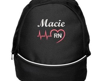 Heart Beat Personalized Back Pack Rn, Lpn, Nurse, Cna, Cma, Emt Embroidered, Gift for Nurse, Back to School, Graduation, Nurse Appreciation