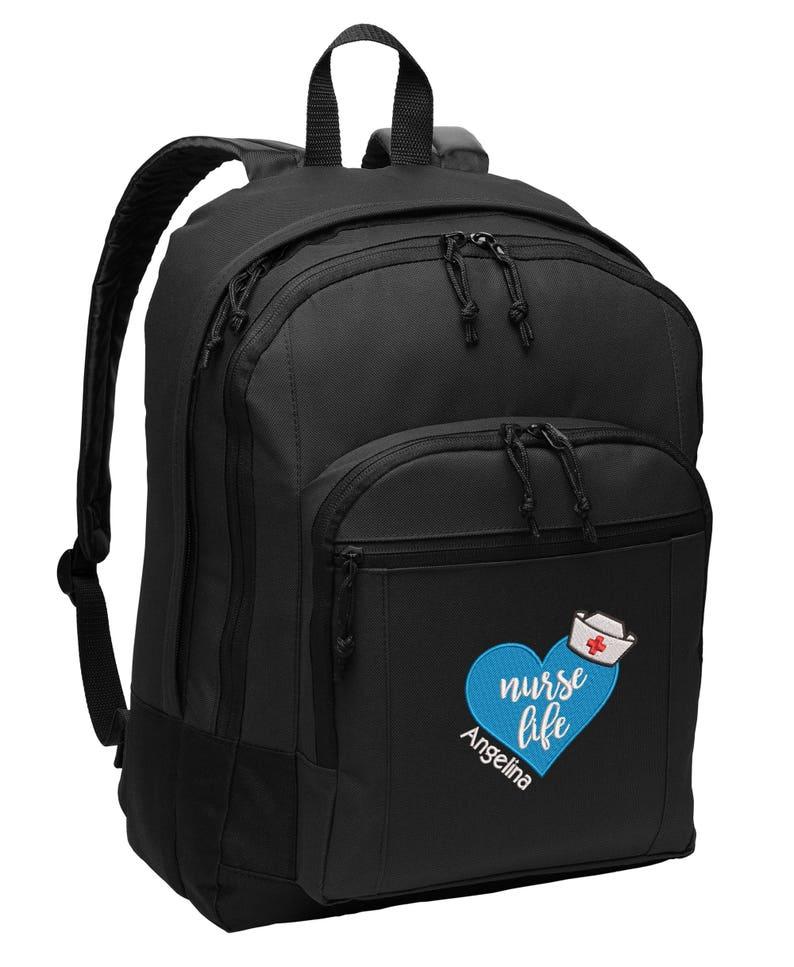Nurse Life Personalized Embroidered Backpack RN LPN LVN image 0