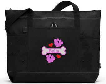 Dog Bone DesignTote Personalized Embroidered Pet Travel Tote, Exclusive Design, Gift for Dog Mom, Dog Lover
