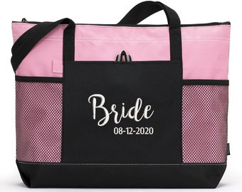 Bride Tote Bag, Bridal Party Gift, Gift For Bride, Custom Embroidered Zippered Tote Bag With Mesh Pockets, Beach Bag, Boating