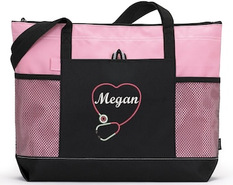 Rn, Lpn, Nurse, Cna Personalized Heart Stethoscope Zippered Tote Bag With Mesh Pockets, Beach Bag, Boating