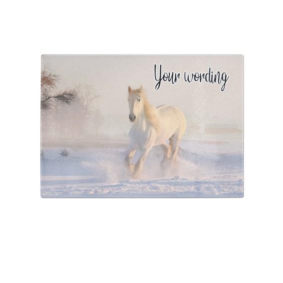 Cheval blanc en hiver personnalisé en verre trempé coupe Conseil mariage anniversaire cadeau de pendaison de crémaillère