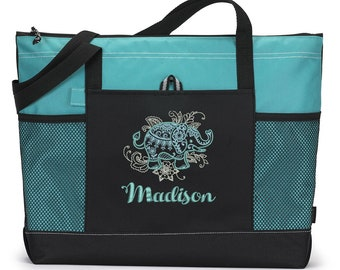Mehndi Elephant Zippered Tote Bag with Mesh Pockets, Gift for Her, Personalized Gift