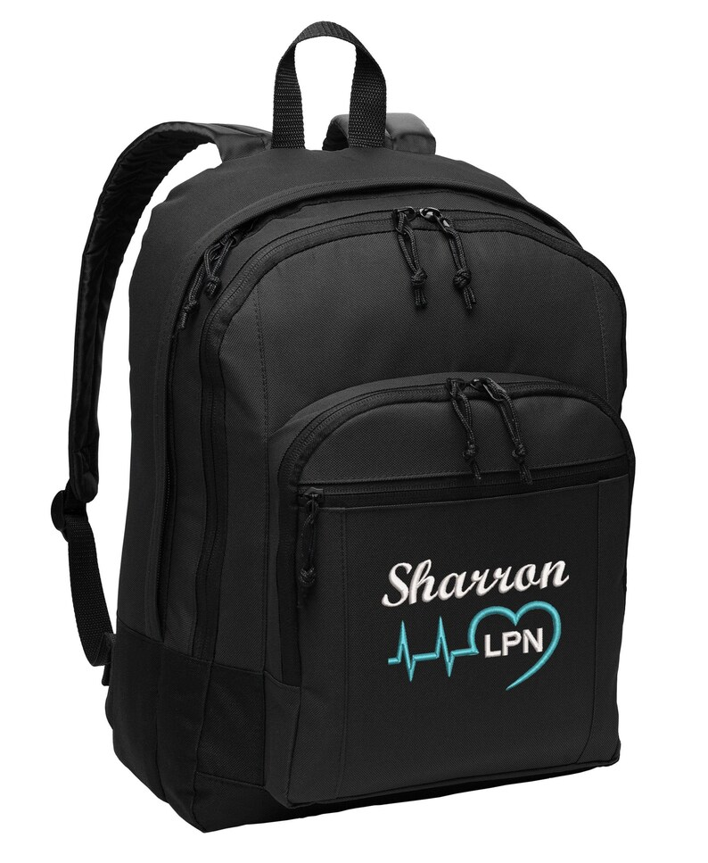 Heart Beat Personalized Back Pack Rn Lpn Nurse Cna Cma image 0