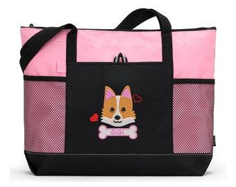 Corgi Puppy Personalized Embroidered Pet Travel Tote