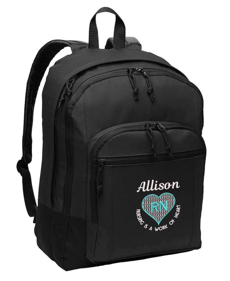 Personalized Backpack Nursing is a Work of Heart Rn Lpn image 0
