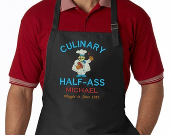 Personalized Culinary Half Ass Embroidered Apron