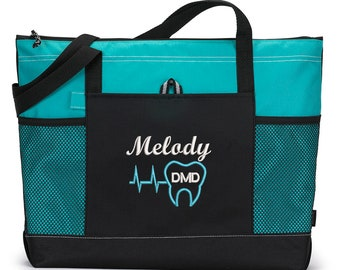 Heartbeat Tooth Dental Embroidered Zippered Tote Bag With Mesh Pockets, Beach Bag, Boating