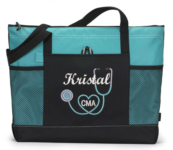 CNA Personalized Tote bag .. LPN Nurse Heart Personalized  Nurse Personalized Tote Bag  RN Great Nursing Gift Idea !!