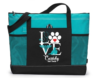 Love Vet Tech Personalized Printed Tote Bag with Mesh Pockets