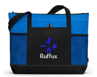 Personalized Dog Tote Embroidered Pet Travel Tote for Dog Park or Show