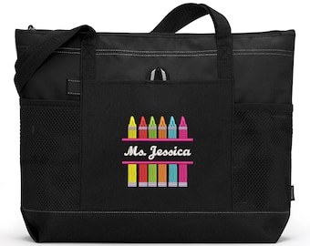 Crayons Teacher Personalized Tote Zippered Embroidered tote Bag With Mesh Pockets, Teacher Bag, Gift for Teacher, Teacher Appreciation