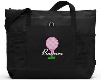 Golf Ball & Tee Embroidered Zippered Tote Bag With Mesh Pockets, Beach Bag, Boating