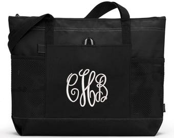 3 Initial Monogrammed Personalized Zippered Tote Bag With Mesh Pockets, Beach Bag, Boating