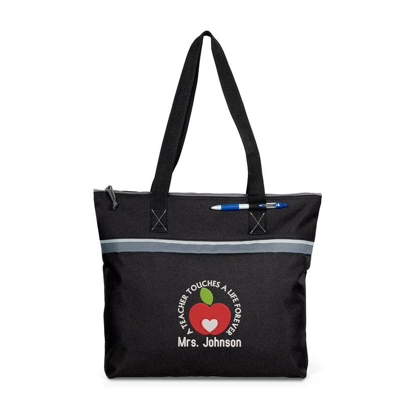 A Teacher Touches a Life Forever #2 Personalized Embroidered Small Beach Tote
