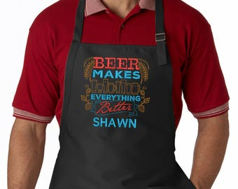 Personalized Men's Apron, Beer Makes Everything Better, Custom Bbq Apron