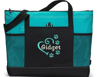 Dog Tote Personalized Embroidered Pet Travel Tote for Dog Park or Show