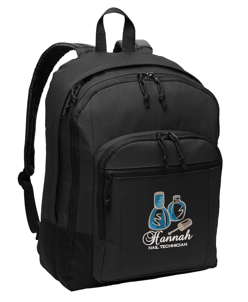 Nail Tech Personalized Embroidered Backpack image 0