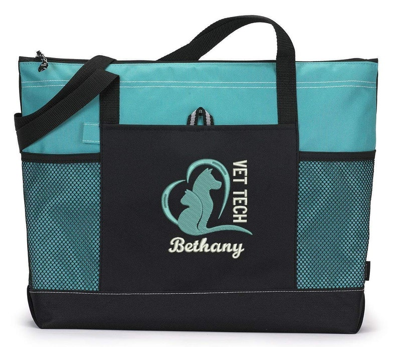 Vet Tech Animal Love Embroidered Zippered Tote Bag With Mesh image 0