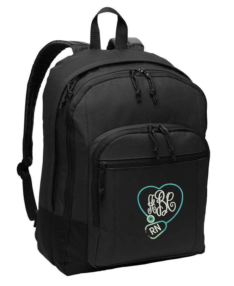 Monogrammed Back Pack Stethoscope Heart Personalized Rn Lpn image 0