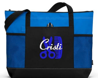 Personalized Hair Stylist #2 Embroidered Zippered Tote Bag With Mesh Pockets, Beach Bag, Boating