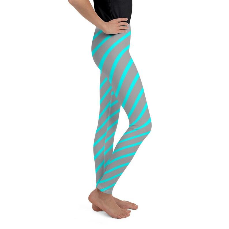 Turquoise Diagonal Lines Youth Leggings