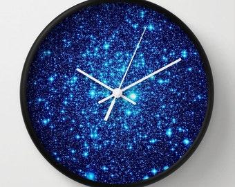 Clock  Blue Wall Clock  Galaxy Clock  Astral Glitter Clock  Blue Home Decor  Galaxy Print Clock  Sparkling Clock  Blue Clock  Galaxy Clock