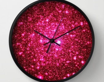 Galaxy Clock|Astral Glitter Hot Pink Clock| Pink Home Decor|Galaxy Print Clock| Sparkling Clock| Pink Wall Clock, Galaxy Clock