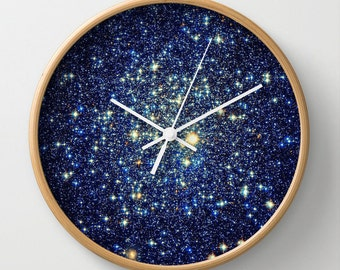 Clock  Blue Wall Clock  Galaxy Clock  Astral Glitter Clock  Blue Home Decor  Galaxy Print Clock  Sparkle Clock  Blue Clock  Galaxy Clock
