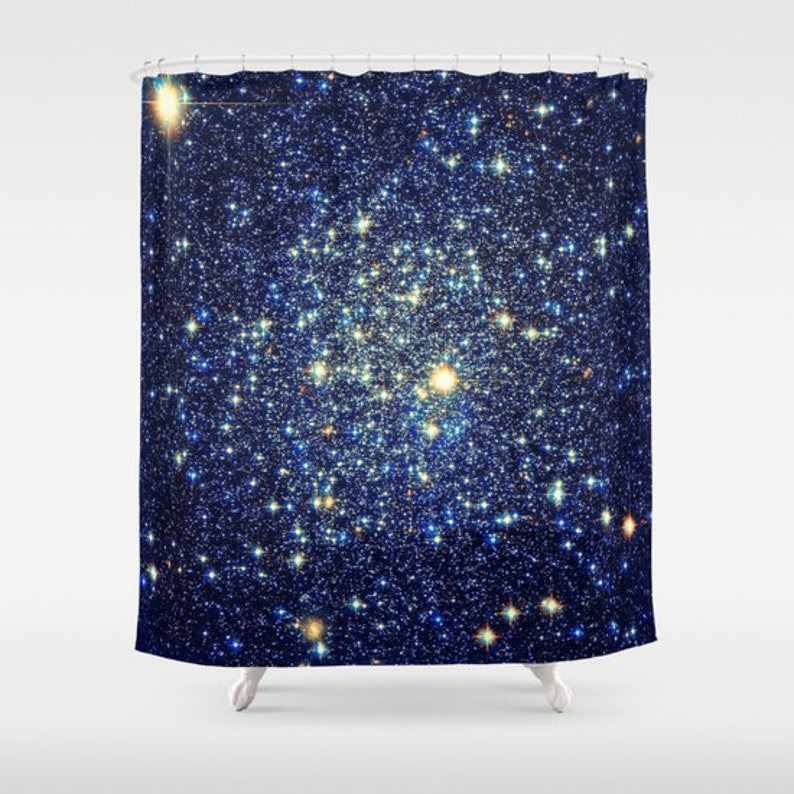 Shower Curtain Blue Gold Bathroom Decor Galaxy Print Sparkle