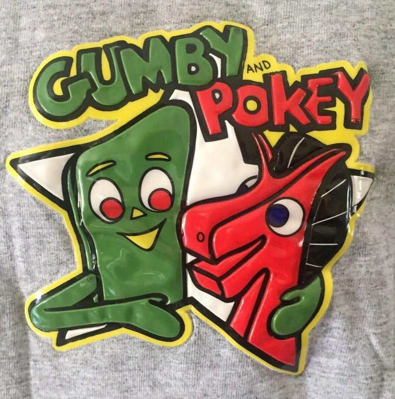 Vintage Gumby and Pokey 3D T Shirt Cartoon Shirt Gray Medium Short Sleeve Men/'s